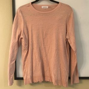 Worn Once Calvin Klein Faux Pearl Sweater Pink